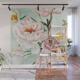Blue Oval Peonies & Poppies Wall Mural