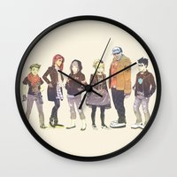 teen titans Wall Clocks featuring Teen Titans Streetwear by L. Tharp