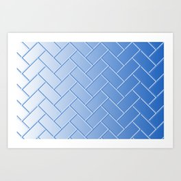 Herringbone Gradient Blue Art Print