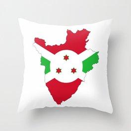 burundi flag map Throw Pillow