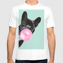 Bubble Gum Sneaky French Bulldog in Green T-shirt
