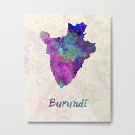 Burundi in watercolor Metal Print