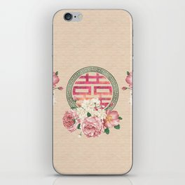 Watercolor Double Happiness Symbol with  Peony flowers iPhone Skin