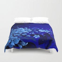 Cherry blossom, blue colors Duvet Cover