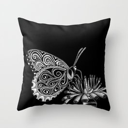 Tangled Butterfly on Black Throw Pillow