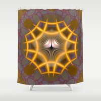 rose gold Shower Curtains featuring Rose Gold Grid by Awesome Palette