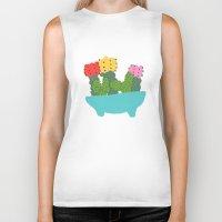 cacti Biker Tanks featuring cute cacti by Berlyn Hubler