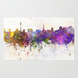 Dusseldorf skyline in watercolor background Rug