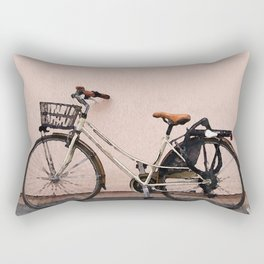 Bicycle against wall Rectangular Pillow