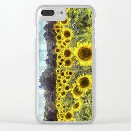 Sunflower Fields Of Dreams Art Clear iPhone Case
