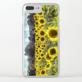 Sunflower Fields Of Dreams Art Clear iPhone Case