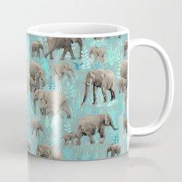 Sweet Elephants in Soft Teal Coffee Mug