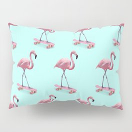 Skating Flamingo Pillow Sham