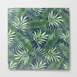 Tropical Branches on Dark Pattern 04 Metal Print