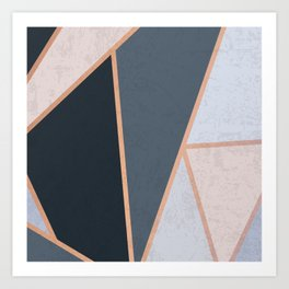 Modern Contemporary Rose Gold Textured Cool Tone Geometric Pattern Art Print