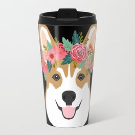 Corgi head floral crown dog breed gifts for welsh corgis Travel Mug