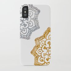 Gold and silver lace floral iPhone X Slim Case