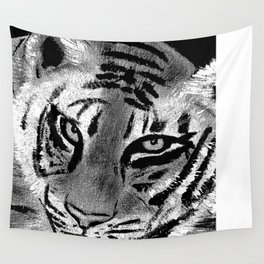 Tiger with White Background Wall Tapestry