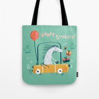 happy birthday Tote Bags featuring Happy birthday! by Villie Karabatzia