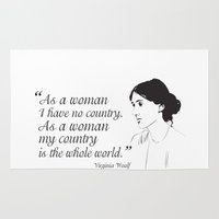 feminist Area & Throw Rugs featuring Virginia Woolf Feminist Quote by People Matter Creative