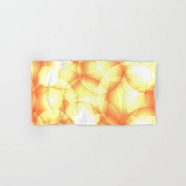 Gentle intersecting golden translucent circles in pastel colors with glow. Hand & Bath Towel
