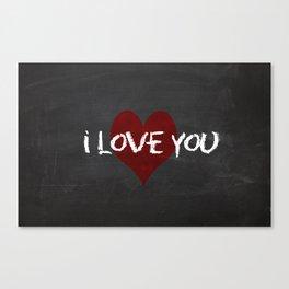 Valentines I love you Chalkboard Design Canvas Print