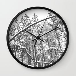 Forest Snowfall // Winter Tree Black and White Landscape Photography Backwoods Woodlands Woods Wall Clock