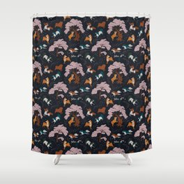 Cherry Blossom and Dog Dance Shower Curtain