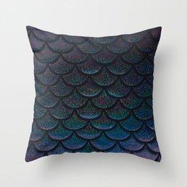 Midnight Blue Black Scales Throw Pillow