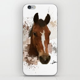 Brown and White Horse Watercolor iPhone Skin