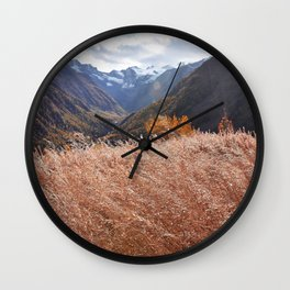 Gold autumn landscape in mountain Wall Clock
