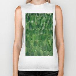 Layers Of Green Leaves Pattern Geometric Pattern Biker Tank
