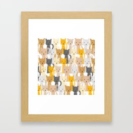 Peeping Cats Pattern Framed Art Print
