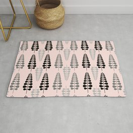 Pink Retro Floral Tree Pattern - Mix and Match with Simplicity of Life Rug