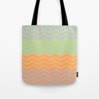 Colorful Chevron on Peach and Mint Tote Bag