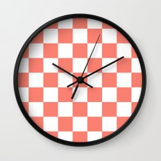 Checker (Salmon/White) Wall Clock
