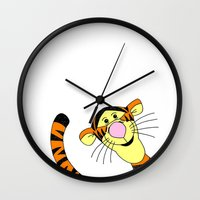 tigger Wall Clocks featuring Bounce by BlackBlizzard