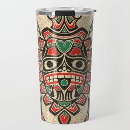 Vintage Red and Green Haida Spirit Sea Turtle Travel Mug
