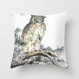 Antique Japanese Woodblock Print Art By Numata Kashu - Scops Owl Sitting On Fir Tree Throw Pillow