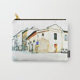Faenza: glimpse with church and parked car Carry-All Pouch