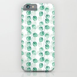Eucalyptus Watercolor Seamless Pattern, Hand-painted in Green and White iPhone Case