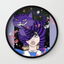 Chesire Cat and Alice Wall Clock