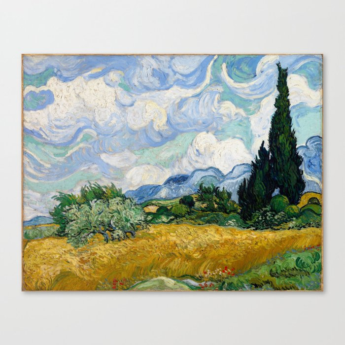 Vincent Van Gogh Wheat Field With Cypresses Canvas Print