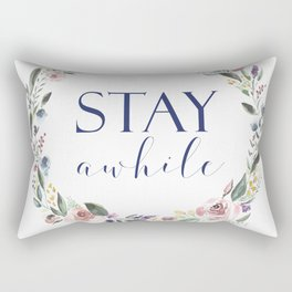 Stay Awhile Floral Crest Rectangular Pillow