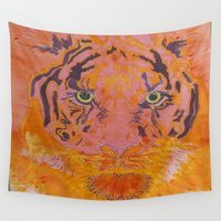 "hunting Wall Tapestries featuring Tiger ""Diana"" A hunting Goddess... by Stefanie Wilhelm by StefaniaSilkArts"