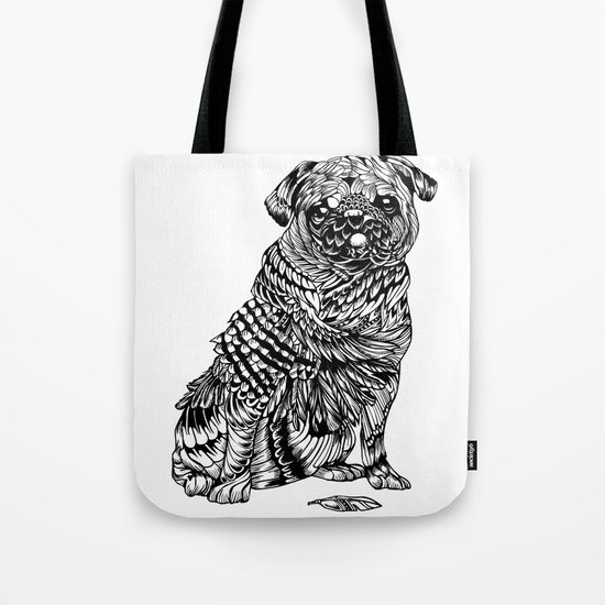 Pug Feather Tote Bag