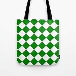 Large Diamonds - White and Green Tote Bag