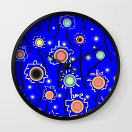 ABSTRACT STARRY LIGHTS ON BRILLIANT BLUE Wall Clock