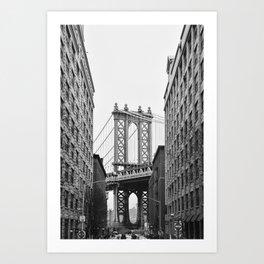 Brooklyn Bridge in New York, USA | Photography print | abstract travel art | Tipical NY building architecture photo Art Print Art Print