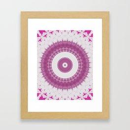 Amethyst & Hot Pink Gemstone Liquid White Smoke Kaleidoscope 6 Digital Painting Framed Art Print